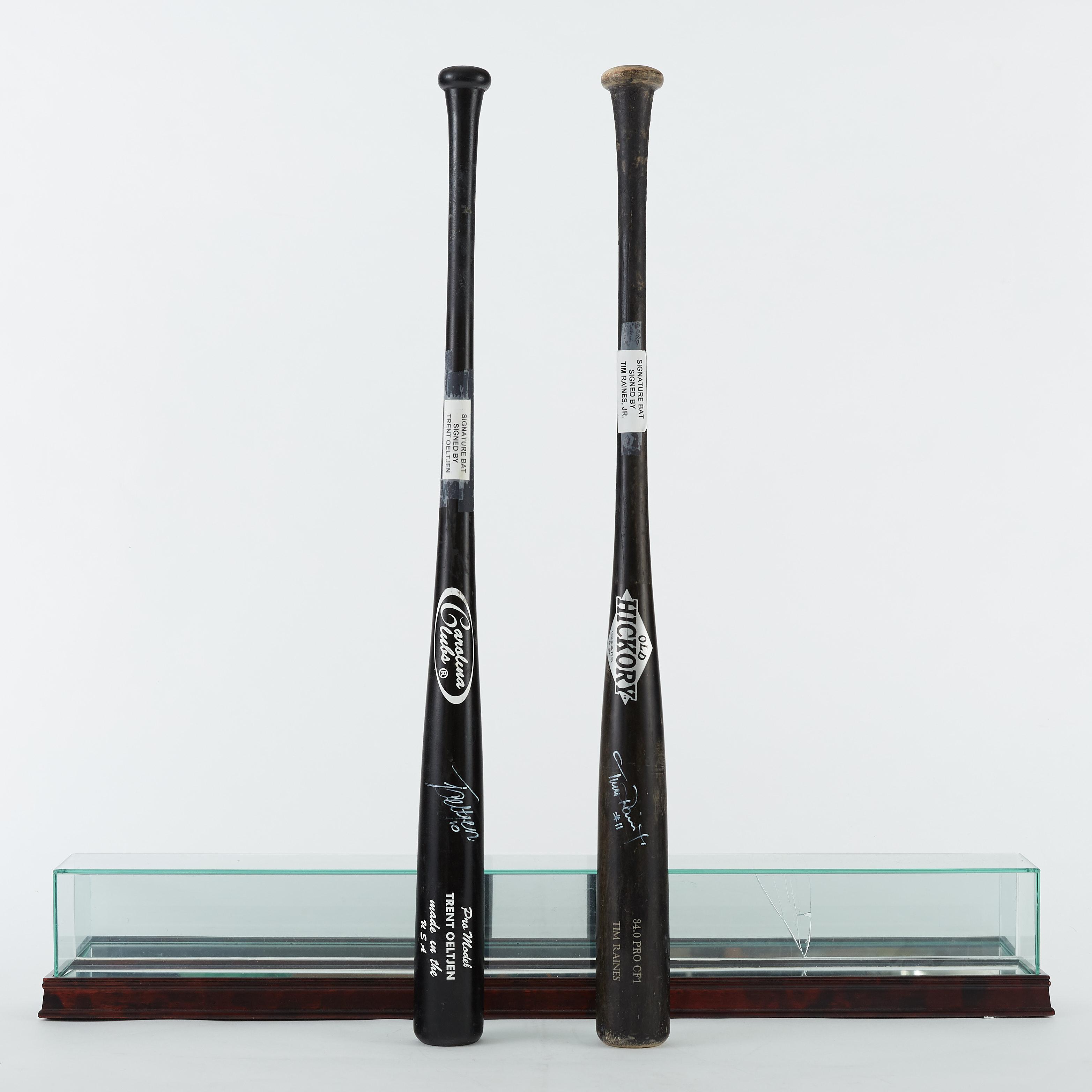 Lot 271: 2 Signed Game Used Baseball Bats Tim Raines