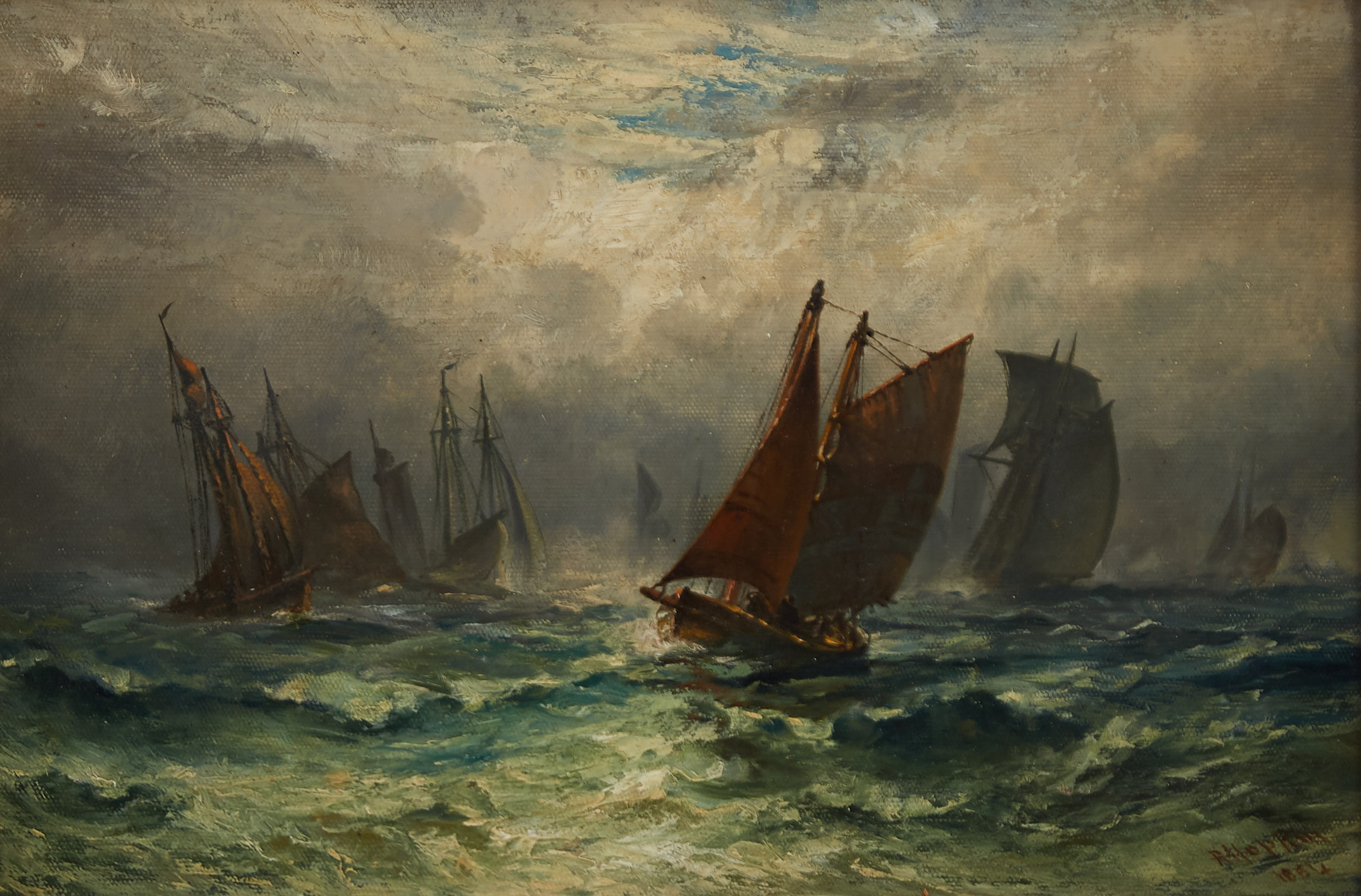 Lot 059: Robert Hopkins Marine Painting Oil on Canvas