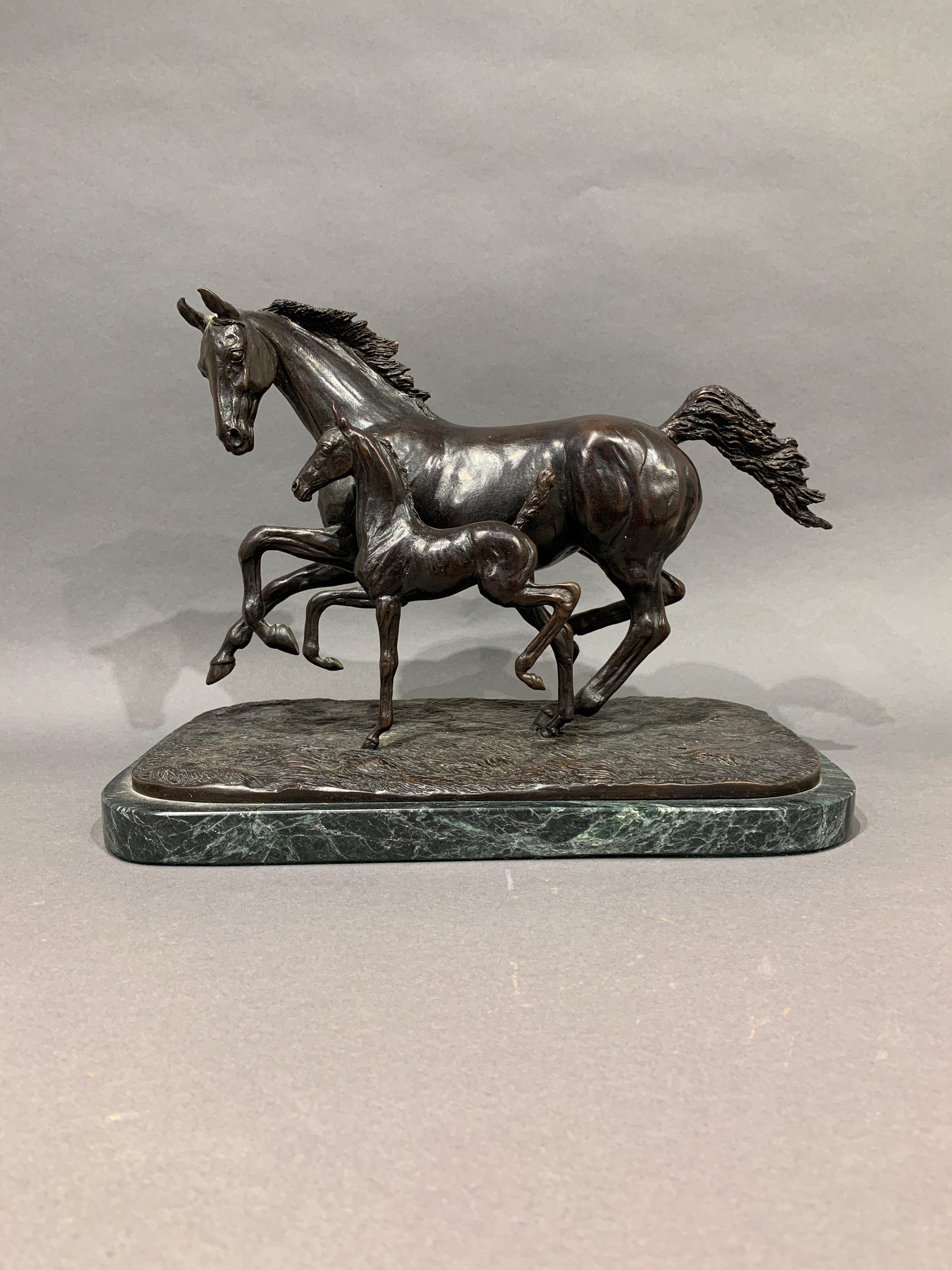 Lot 265: Linda Rankin Bronze Sculpture Horse and Foal