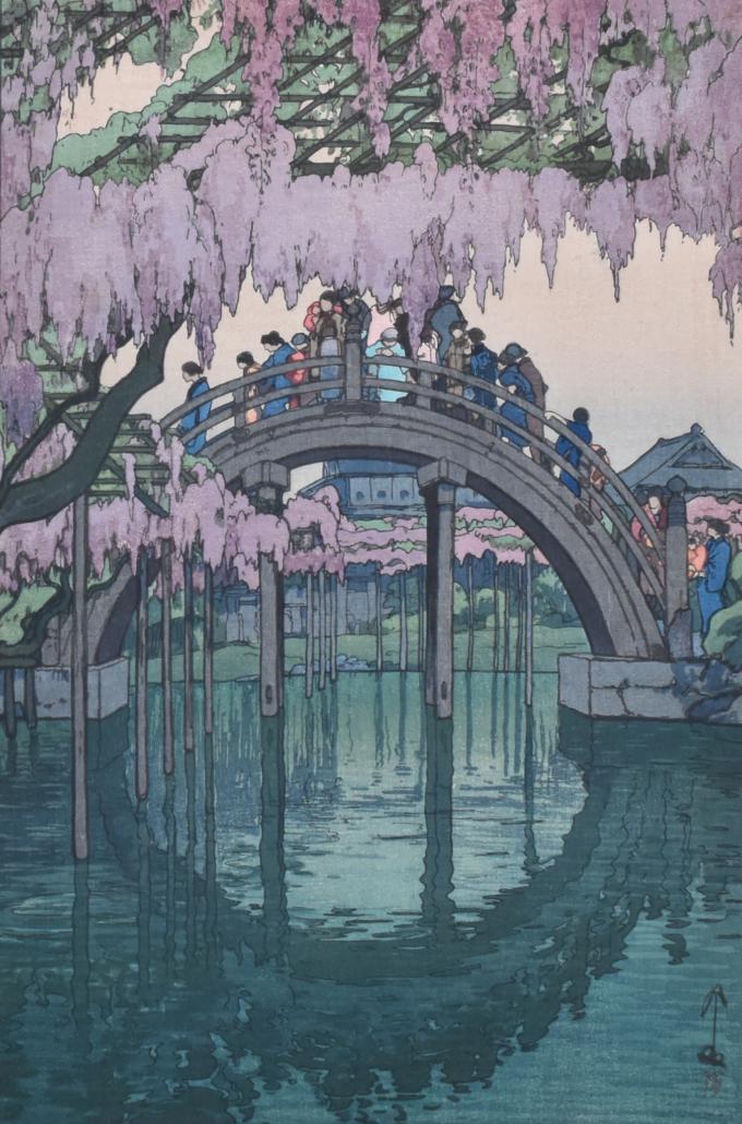 "Hiroshi Yoshida ""Kameido Bridge"" Woodblock Print"