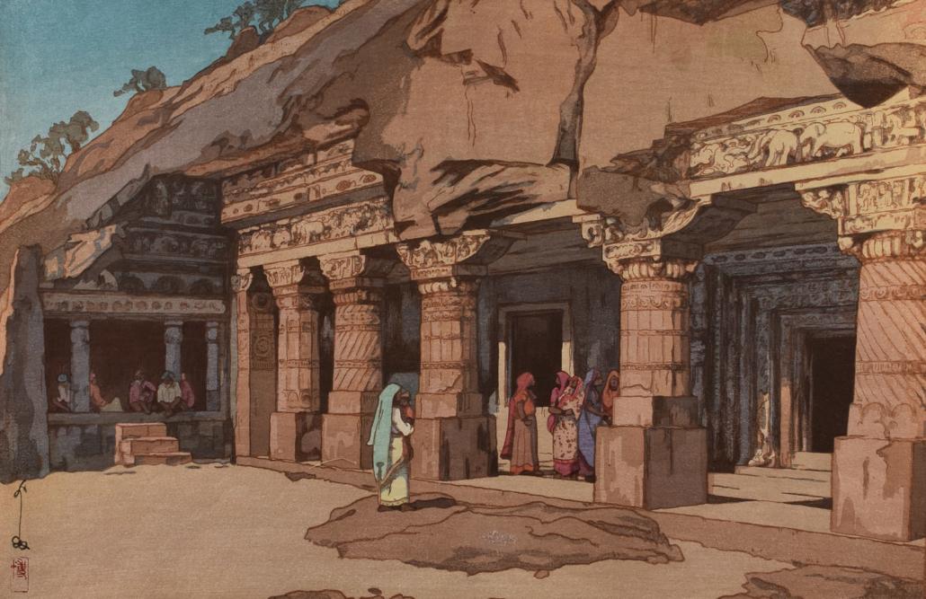 """Hiroshi Yoshida """"Ajanta Cave Temple"""" Woodblock print"""