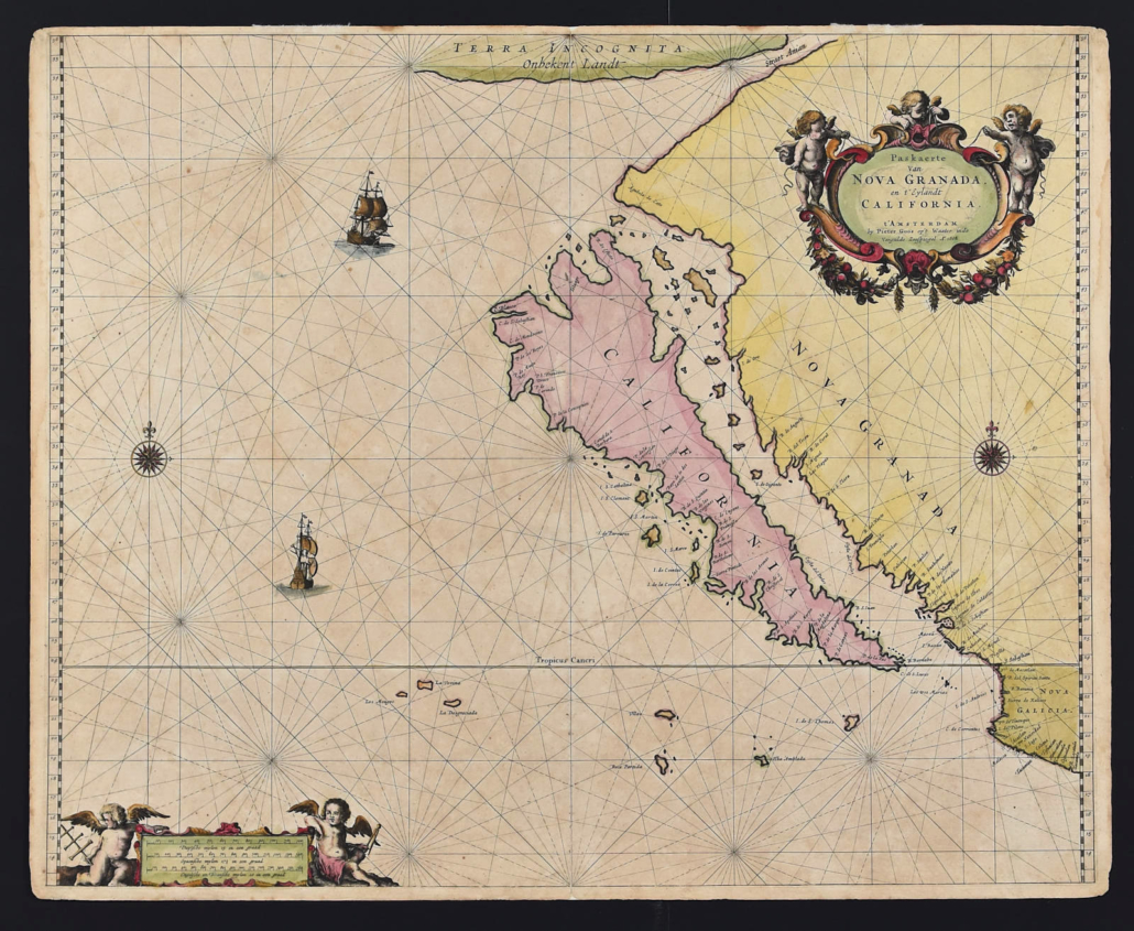 Pieter Goos Map of California as an island, 1666