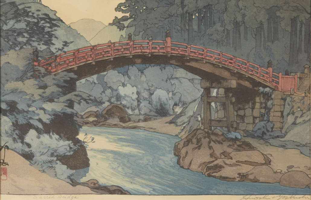 "Hiroshi Yoshida ""Sacred Bridge"" Woodblock Print"