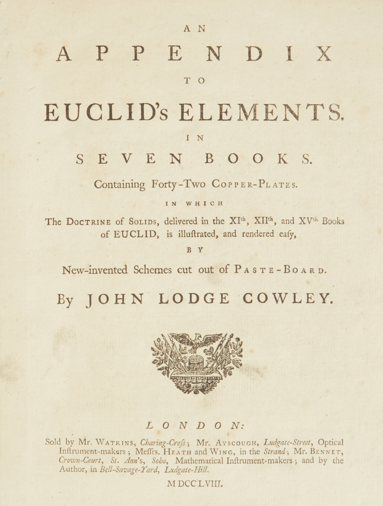 "John Lodge Cowley ""An Appendix to Euclid's Elements"""