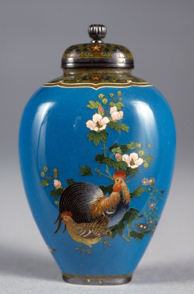 Jar and Lid with Design of a Rooster, a Hen, Two Butterflies, and Flowers, Philadelphia Museum of Art