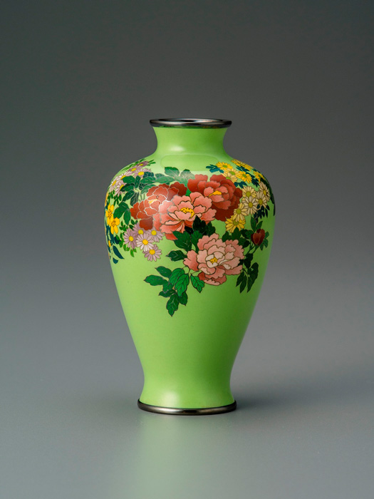 Small Cloisonné Vase with Cherry Blossom, Peony, Chrysanthemum, and Butterfly Motifs, Namikawa Cloisonne Museum of Kyoto