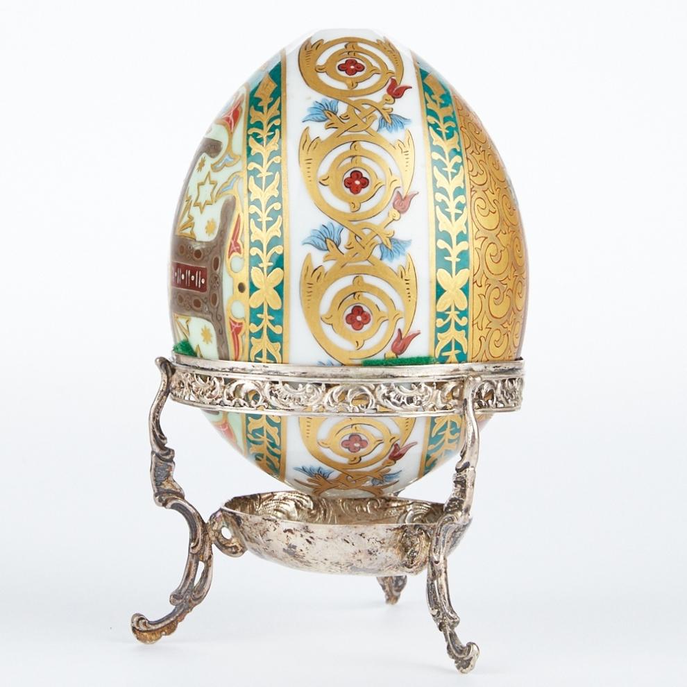 Russian Porcelain Egg with Sterling Stand