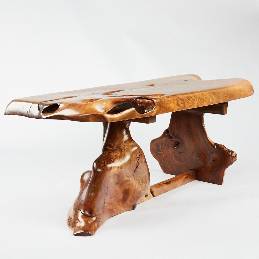 Burl wood table in the style of George Nakashima