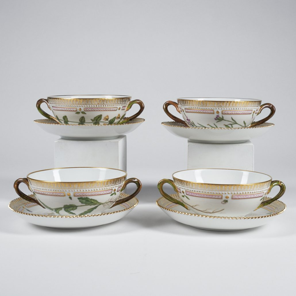 Royal Copenhagen Flora Danica porcelain soup cups and saucers.