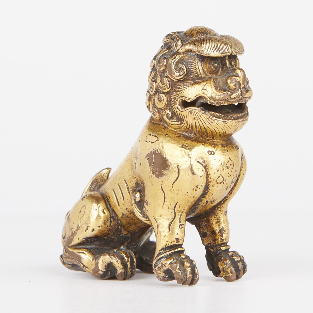 Chinese Gilt Bronze Foo Dog