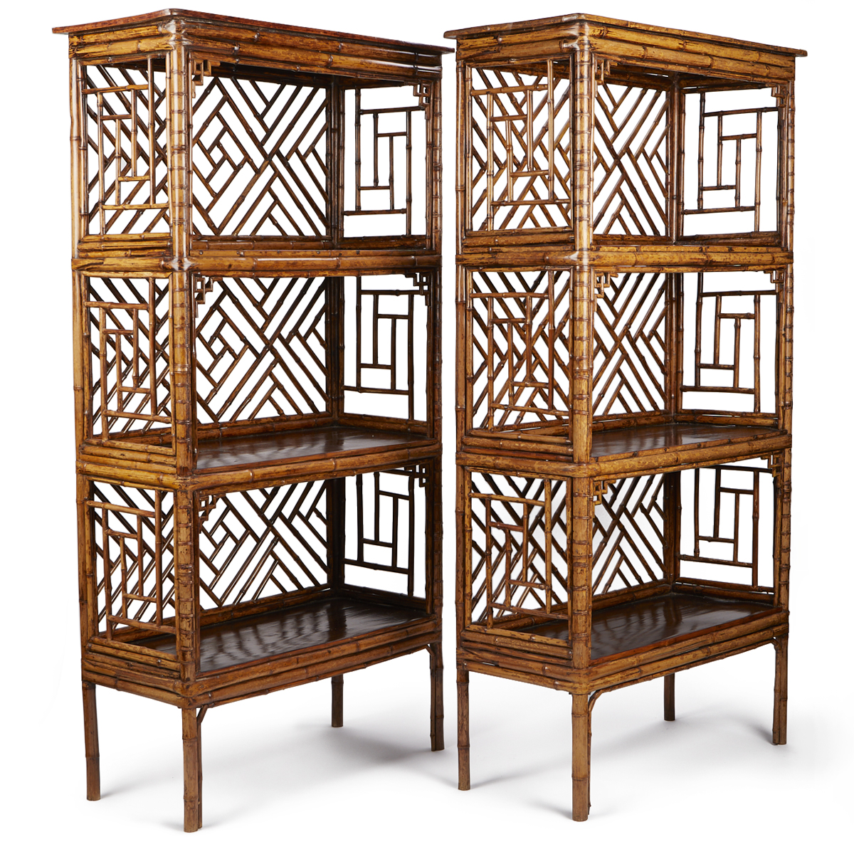 Chinese spotted bamboo shelves